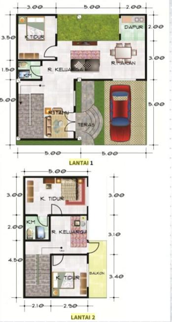 Sumber: 36 Desain Rumah 1 & 2 Lantai karyaFariz Rachmanaputra, ST, Archira