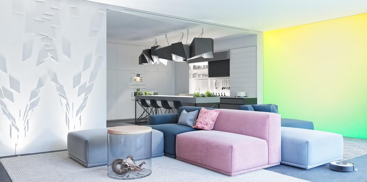 desain interior futuristik warna warni