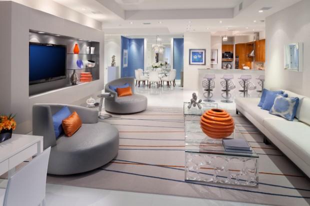 sentuhan warna desain interior futuristik