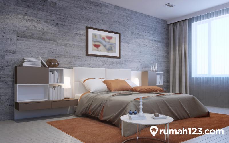 kamar tidur dengan wallpaper