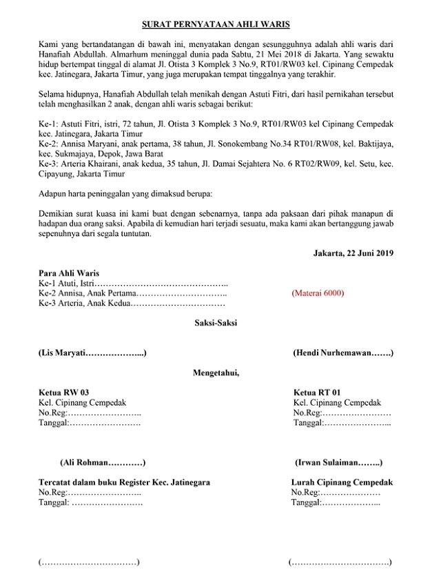 29+ Contoh surat persetujuan ahli waris jual beli tanah terbaru terbaru