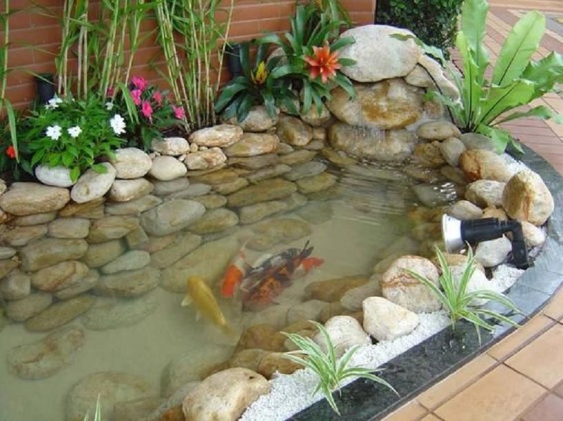 kolam ikan minimalis depan rumah