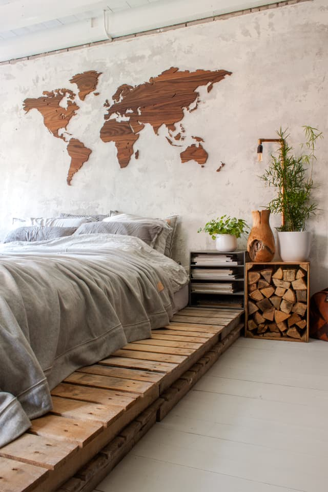 Desain kamar tidur minimalis kombinasi kayu
