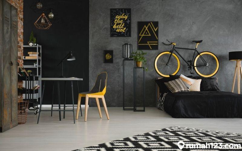 kamar tidur minimalis industrial