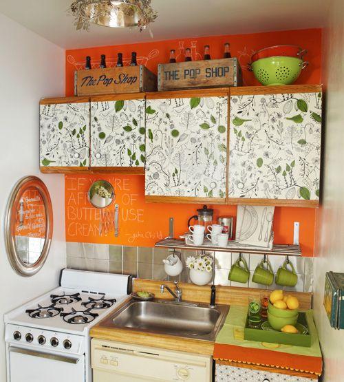Desain dapur minimalis orange