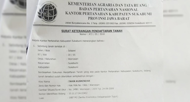 surat keterangan pendaftaran tanah