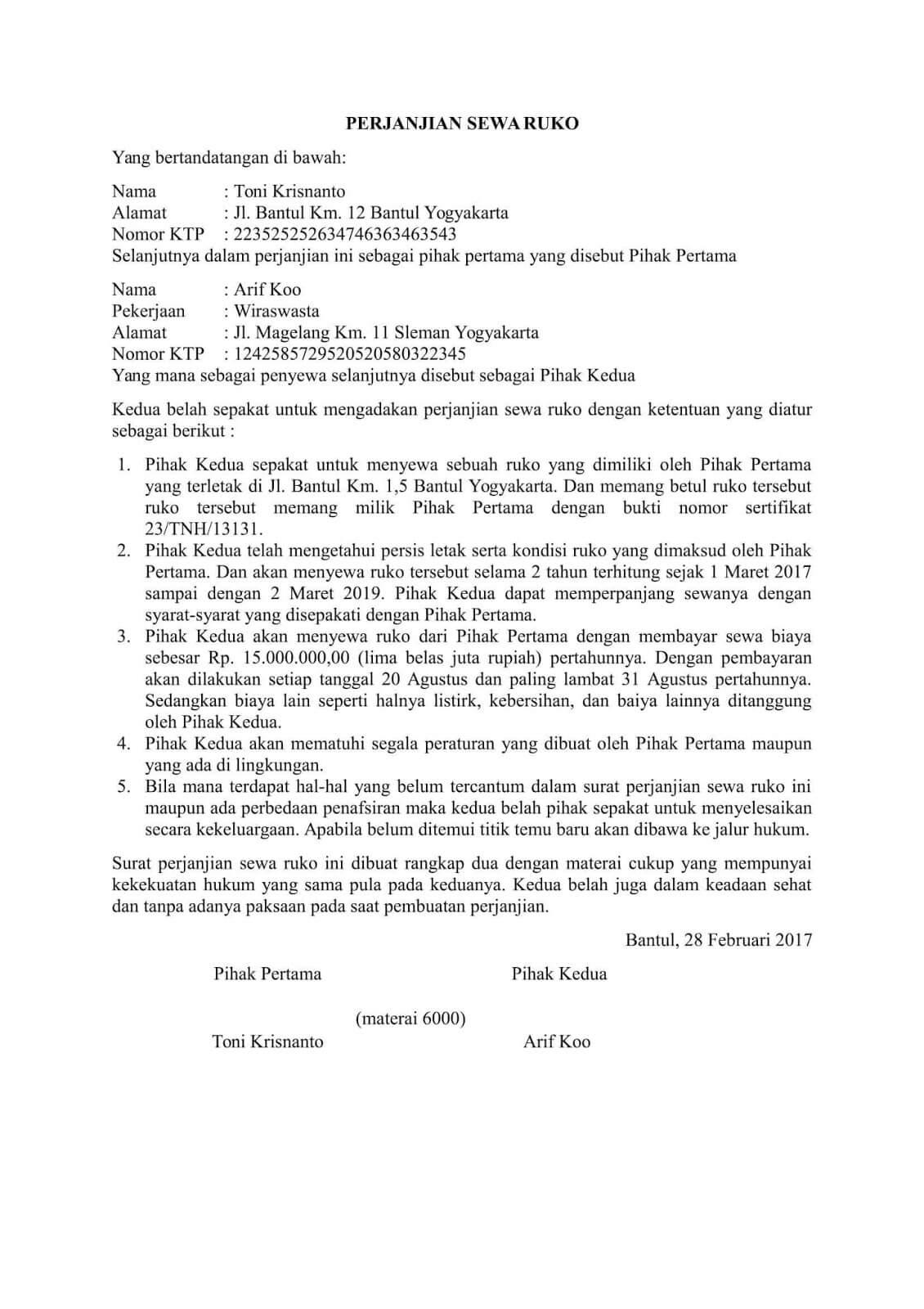 Contoh Surat Perjanjian Sewa Ruko