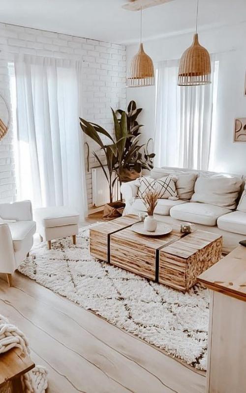 ruang keluarga minimalis industrial