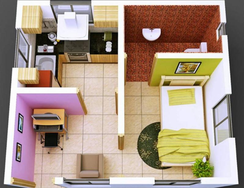 Desain Rumah Kontrakan 3x6 1 Kamar Tidur