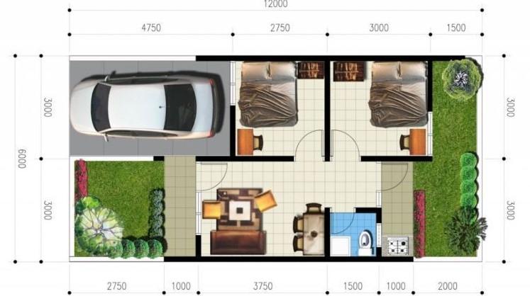 Desain Rumah Kontrakan 3x6 2 Kamar Tidur