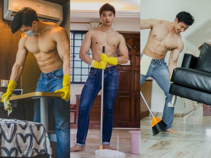 pria kekar membersihkan rumah