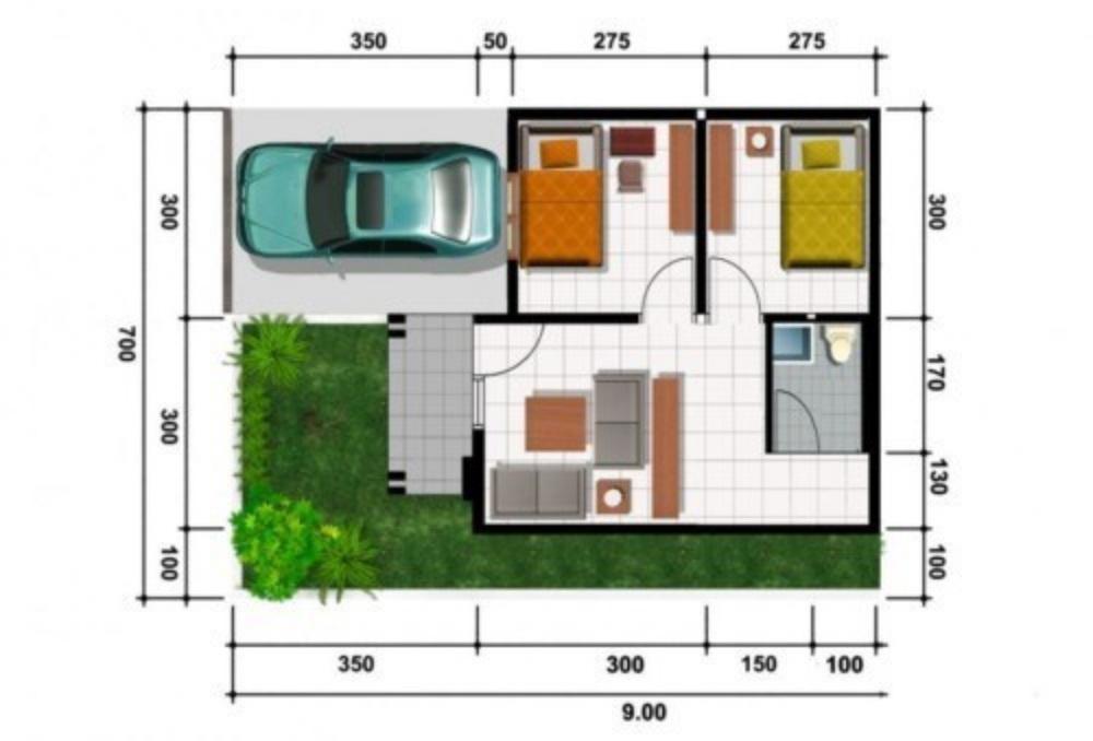 denah rumah type 21 3 kamar tidur