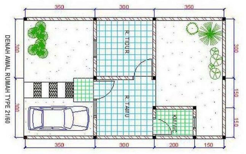 denah rumah tipe 21 taman luas