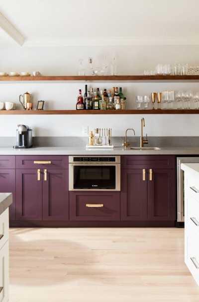 Desain dapur minimalis ungu