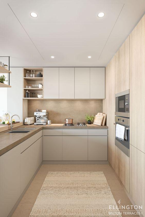 Dapur minimalis modern Krem