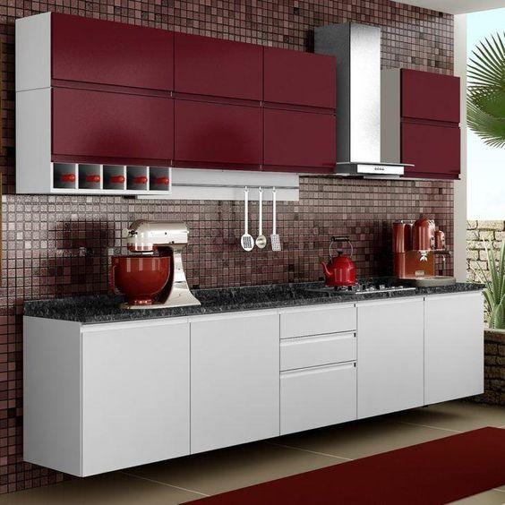 Model dapur minimalis merah Maroon_8