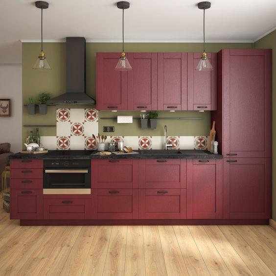 Model dapur minimalis Merah Maroon_11