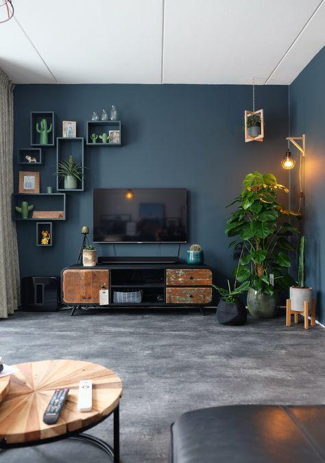 Desain ruang TV minimalis Biru_3