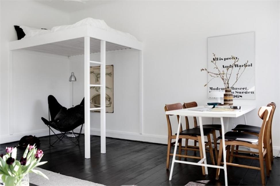 Desain Apartemen 1 Kamar dengan Tempat Tidur Loteng