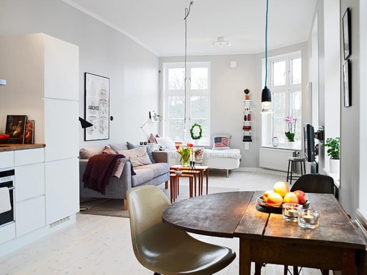 Desain Apartemen 1 Kamar dengan Warna Putih Sederhana