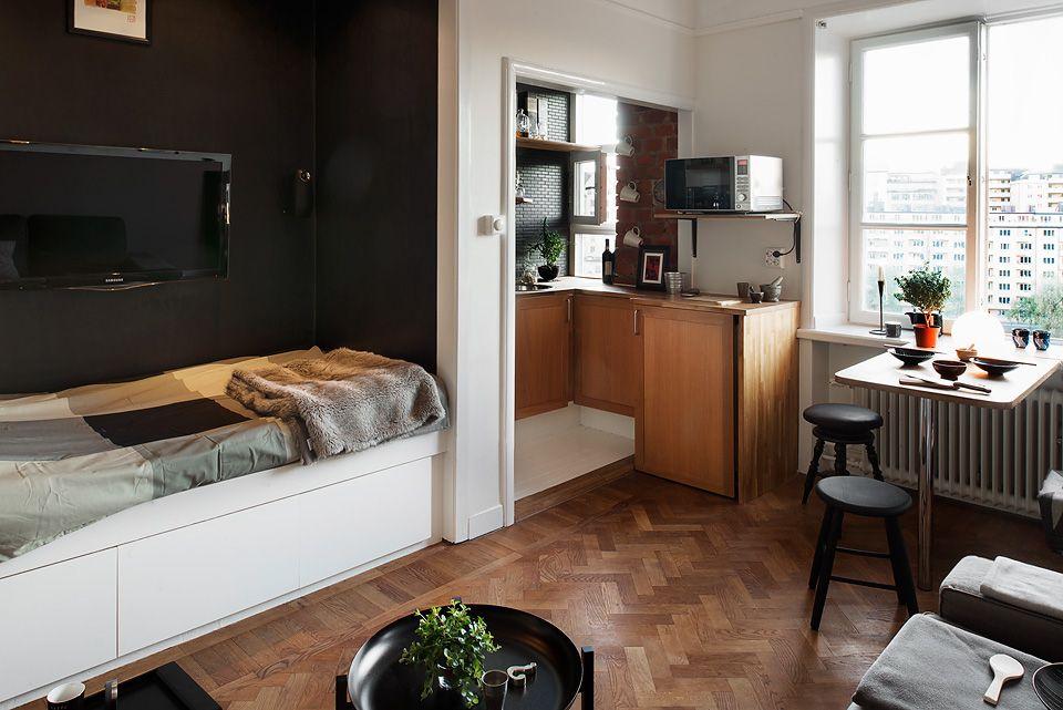 Desain Apartemen 1 Kamar Kecil dengan Gaya Maskulin