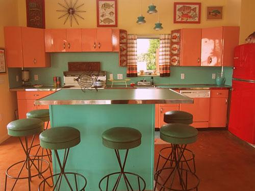 Desain dapur minimalis Oranye