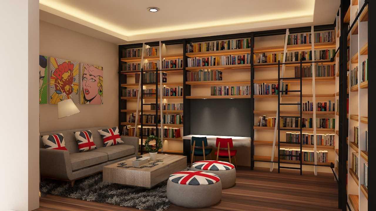 Ruang Membaca dengan Tumpukan Buku