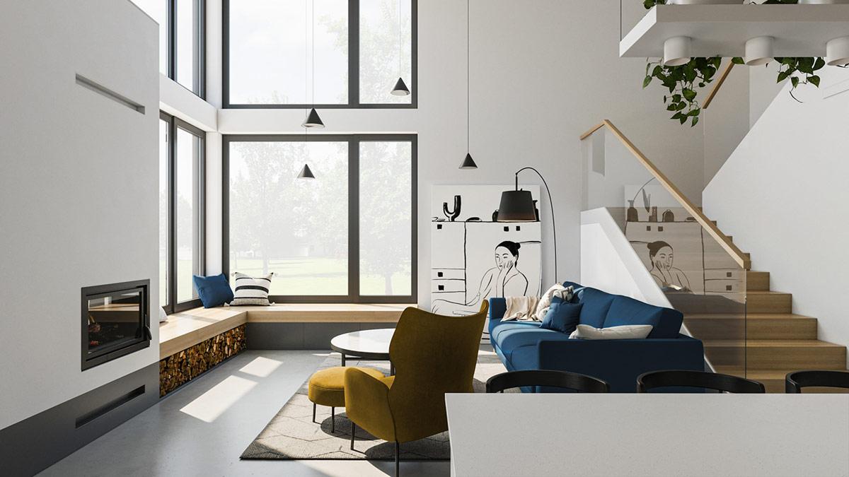 Ruang Tamu dengan Aksen Kuning dan Biru