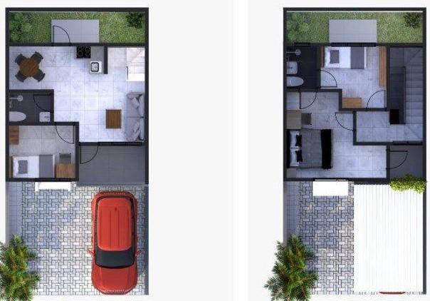 denah rumah tinggal 1 lantai