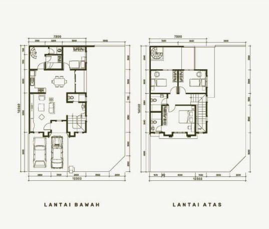 Denah Rumah Mewah 2 Lantai