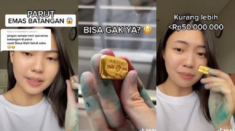 viral cewek parut emas batangan Rp50 juta