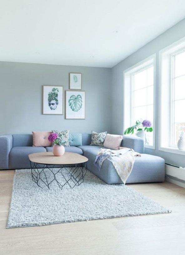 Ruang Tamu Minimalis Bernuansa Biru 5