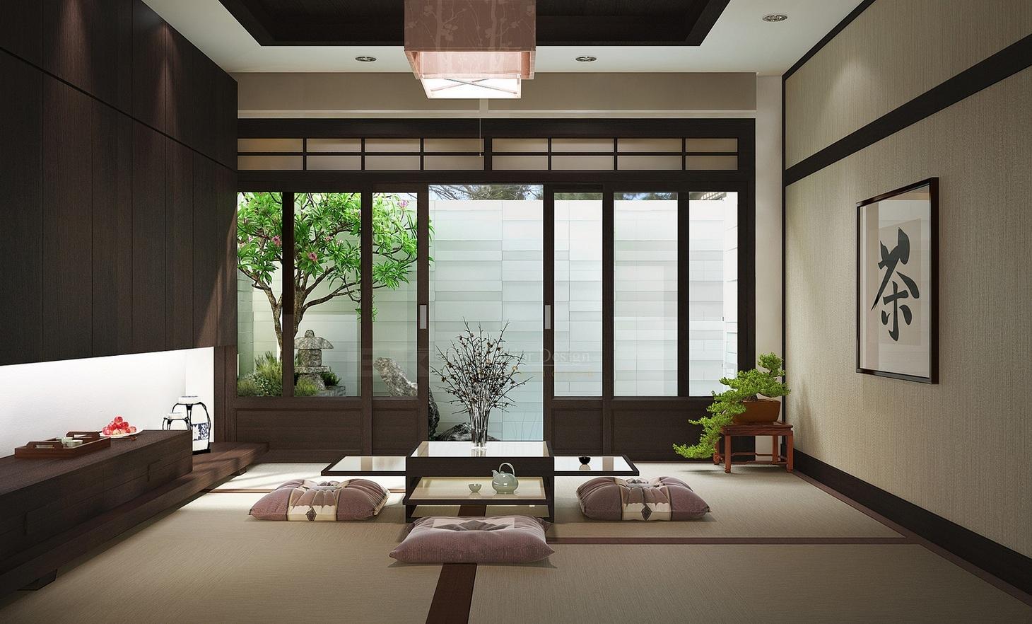 Ruang Tamu Bergaya Jepang