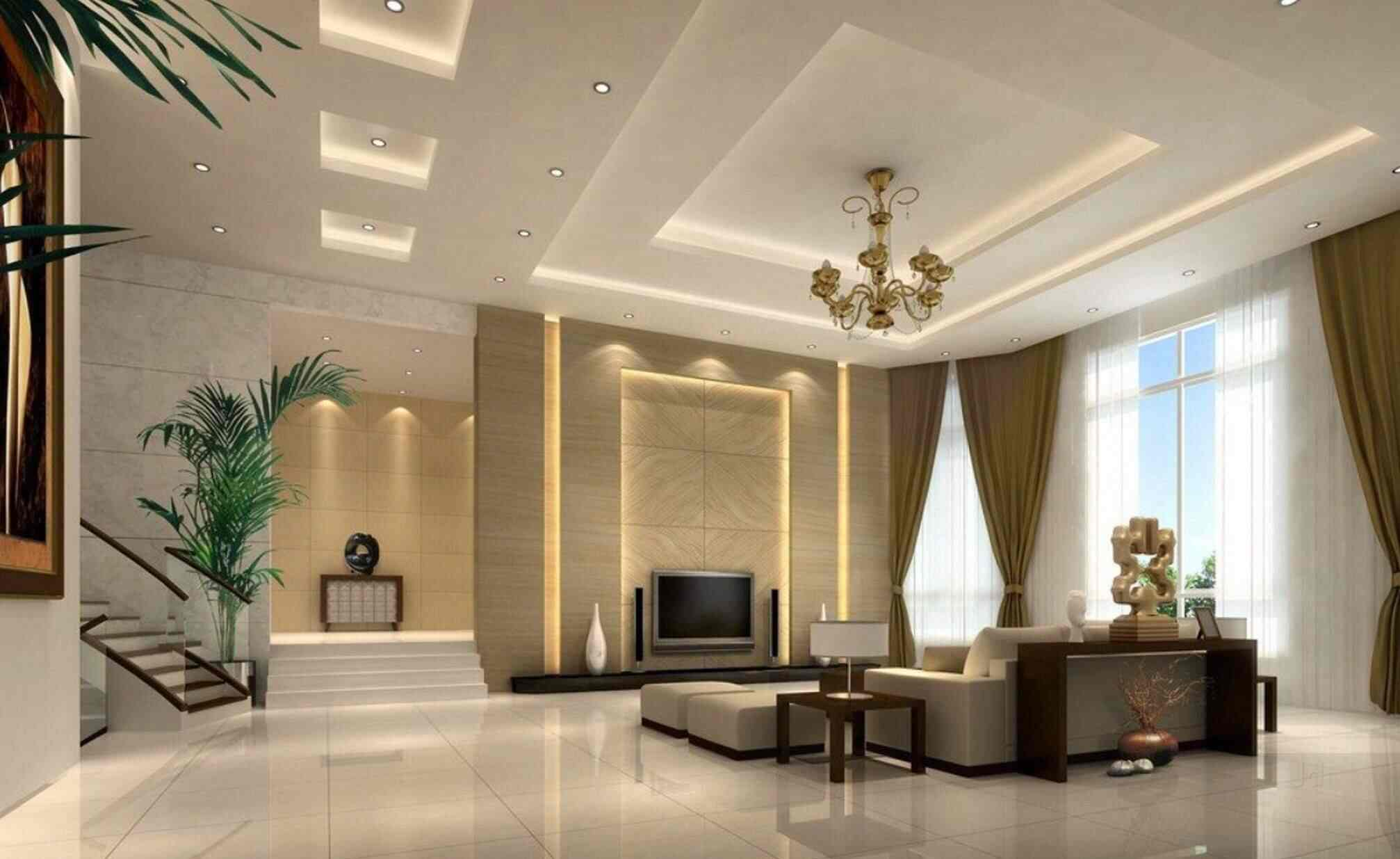 Plafon Rumah Minimalis dengan Pencahayaan Interior