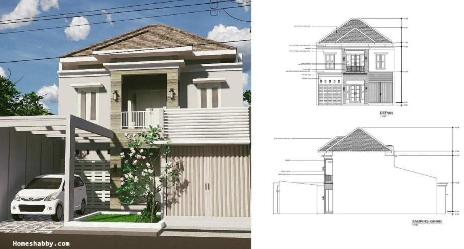 Desain Rumah 2 Lantai dengan Tempat Usaha