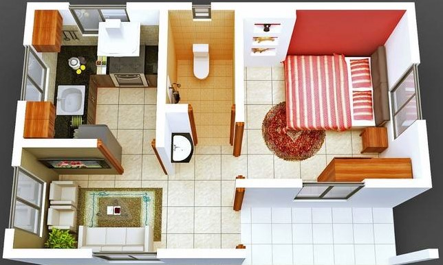 Desain Rumah 1 Kamar dengan Teras