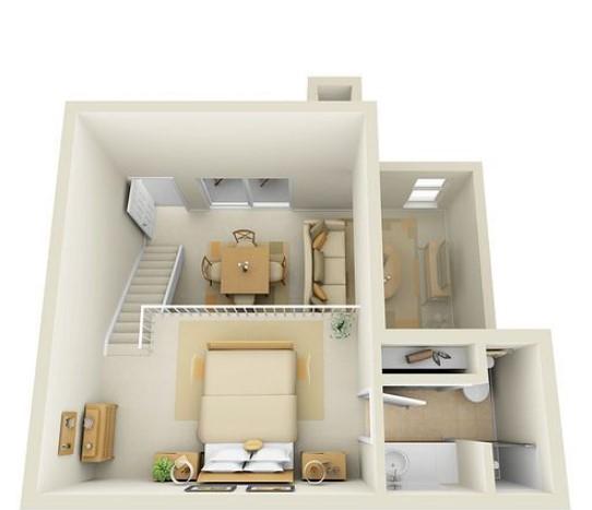 Desain Rumah 1 Kamar Mezzanine
