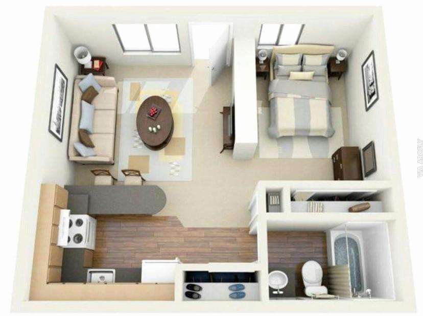 Desain Rumah 1 Kamar Tanpa Sekat