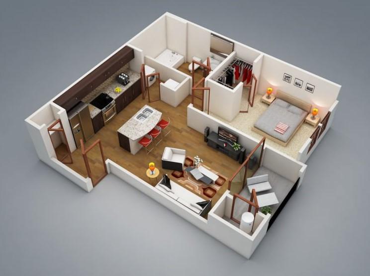 Desain Rumah 1 Kamar Tipe 45