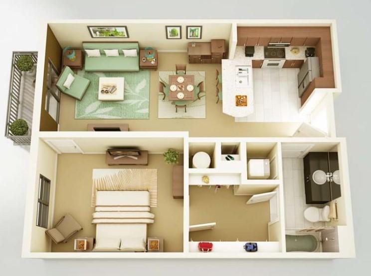 Rumah Minimalis 1 Kamar dengan Halaman Belakang