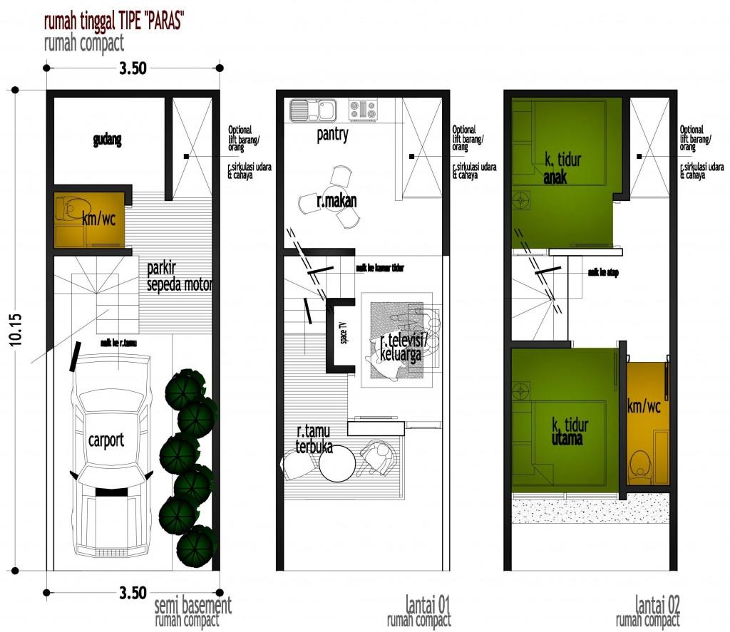Desain Rumah Compact di Lahan 35x10m2